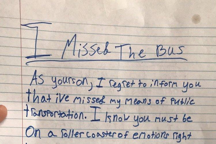 viral missed bus note