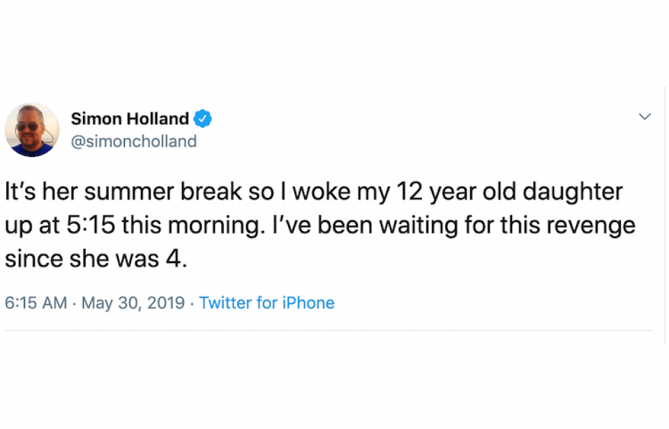 simon holland parenting tweets
