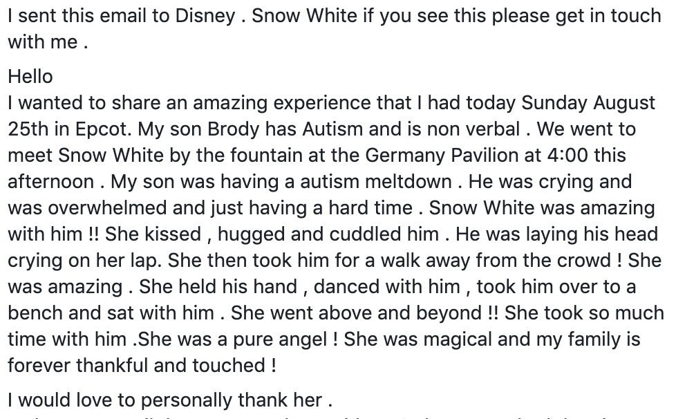 this disney princess ensures a young boy with autism gets his fairytale moment at disney world   instead of a story that ends with tears, a woman playing snow white made sure this boy got the fairytale moment he needed.