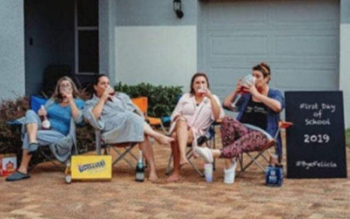 let's celebrate back to school: mom's hilarious photo captures first day of school relief! | back to school florida moms/facebook