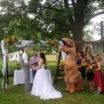 This Maid of Honor Who Wore a T-Rex Costume to Her Sister's Wedding, Says She Regrets Nothing, and Is Our New Hero Forever