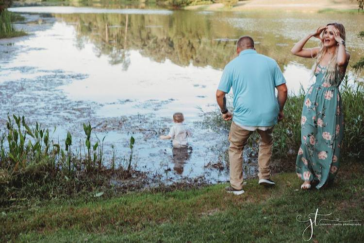 Toddler Walks Into Pond in Middle of Family Photo Shoot