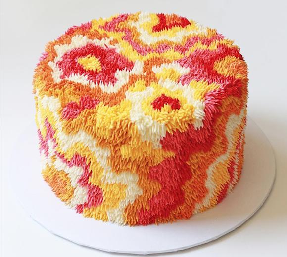 Red yellow orange shag carpet cake