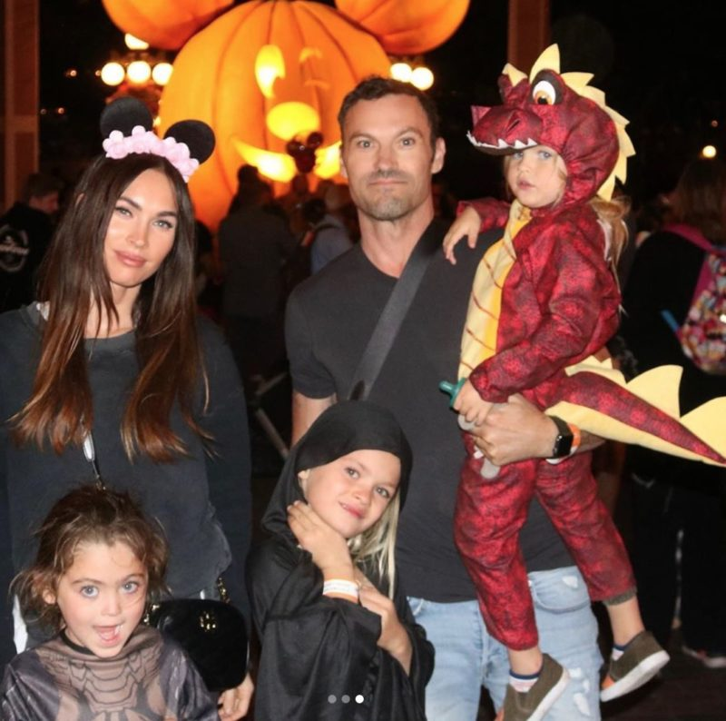 actress megan fox shares sweet, but rare, halloween snaps of kids with dad brian austin green   celebrity moms: they're just like us ... when it comes to getting one good photo of their kids where no one is crying and everyone is looking at the camera.