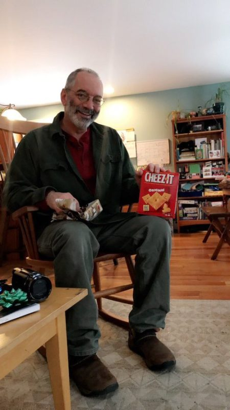 girl pranks dad with cheez-it
