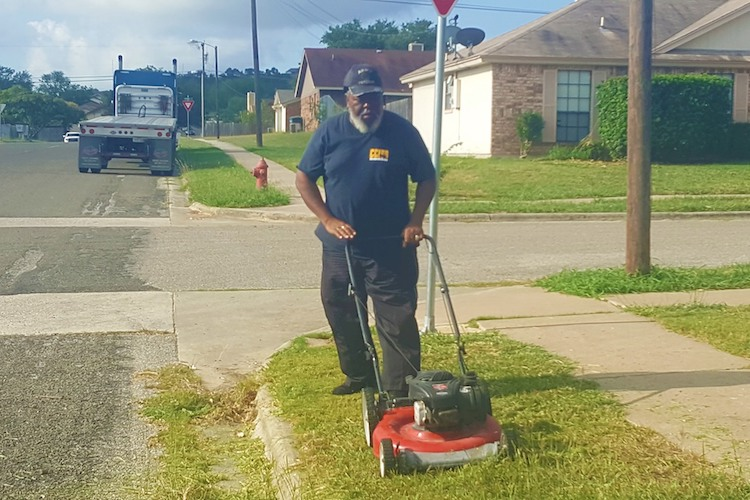 Jerry Martin: Bus Driver Mows Tall Grass and Weeds at Bus Stop for Local Children