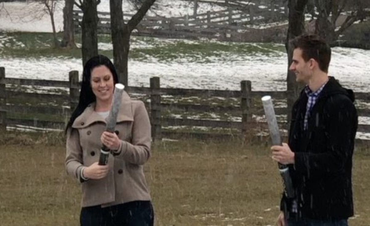 Mom Accidentally Blasts Partner in Face with Gender Reveal Confetti Cannon When She Wasn't Paying Attention