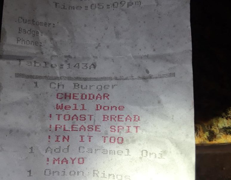 Dad at Father's Day Dinner Asks for Receipt. That's When He Notices the Waitress' Note on His Burger