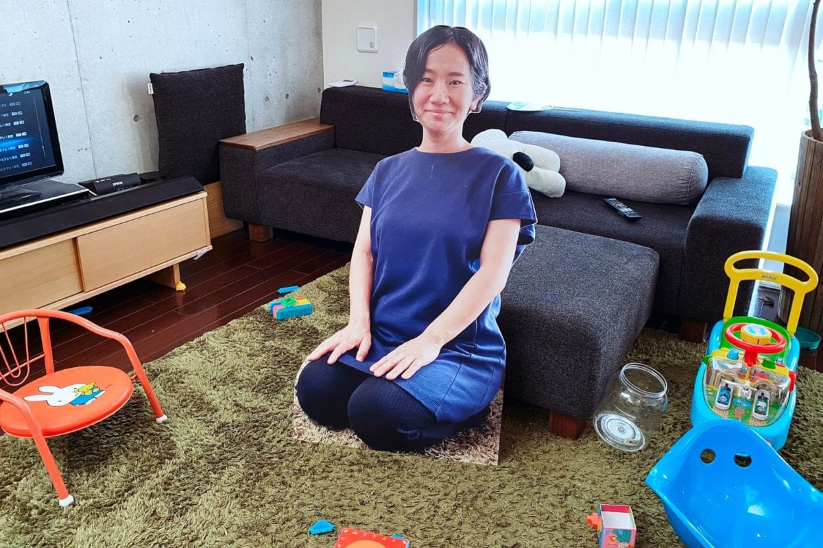 dad and mom creates life-size cardboard cutout of mom to stop kid from crying every time she leaves a room
