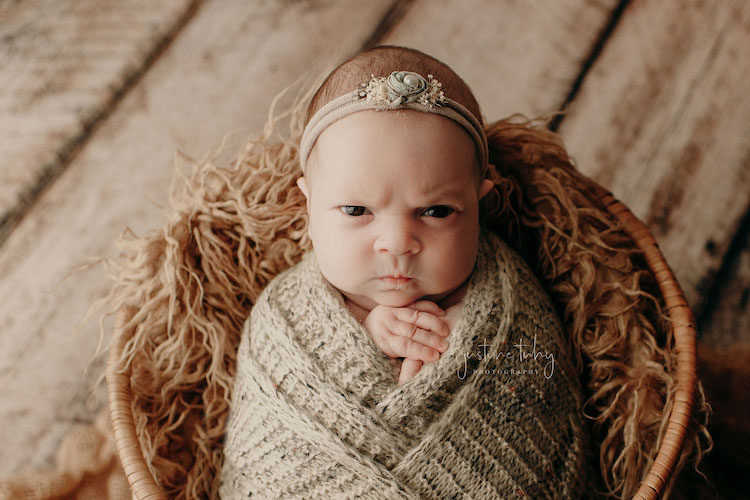 This 'Mean Mug' Viral Baby Photoshoot Is So Good It Cured Us of Scowling Forever