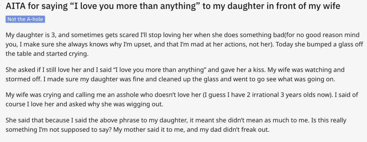 Did This Dad Make a Mistake Telling His Daughter He Loves Her 'More Than Anything' in Front of His Wife?