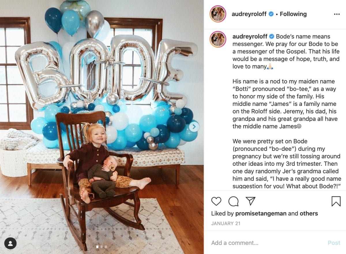 audrey roloff shares meaning behind her son's unique name