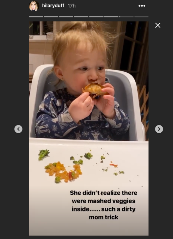hilary duff shares how she tried to trick her daughter into eating her veggies, but it didn't work | hilary duff, mom of two, is now the throes of picking eating, but has luckily figured out a few things that her daughter banks, who turned one in october, enjoys eating on a regular basis.