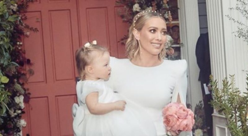 actress hilary duff is saving her wedding dress in hopes that her daughter banks will want to wear it one day