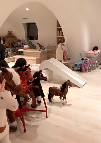 kim kardashian kids' playroom boasts ball pit and epic stage