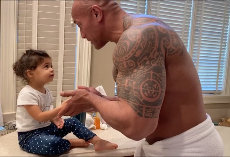 The Rock Washes Daughters Hands While Lovingly Singing Song from Moana