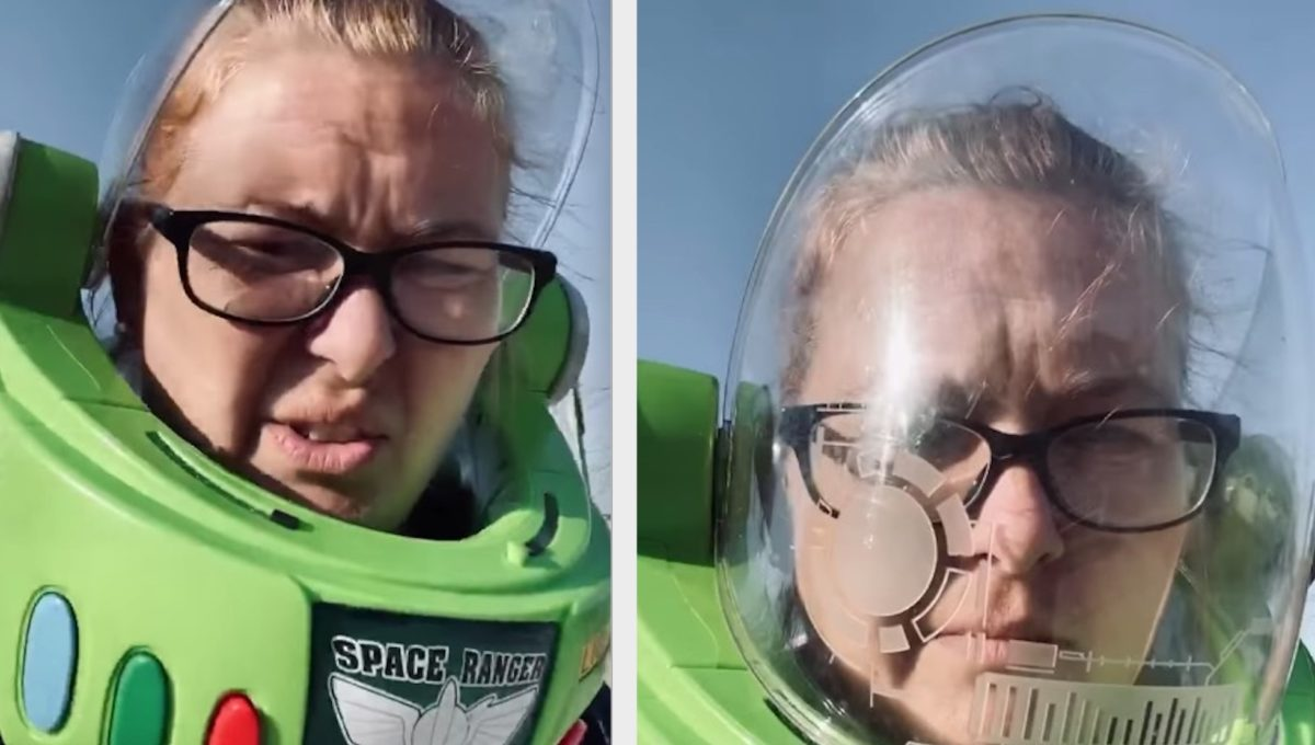 Mom Dons Her Kid's Buzz Lightyear Helmet In Public After Her Husband Insisted That She Wear a Mask in Public