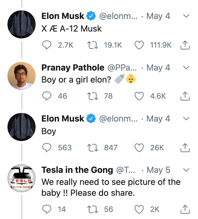 singer grimes and elon musk welcome their baby into the world as elon shares photos and reveals their son's unique name | parenting questions | mamas uncut screen shot 2020 05 06 at 9.12.19 am