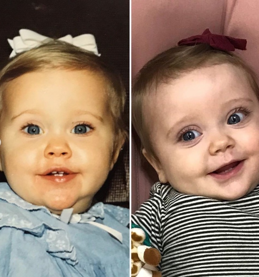 """jessa duggar seewald and her daughter are literal twins, and she has the side-by-side shots to prove it   """"i'd say she looks a little like me. especially the eyes."""""""