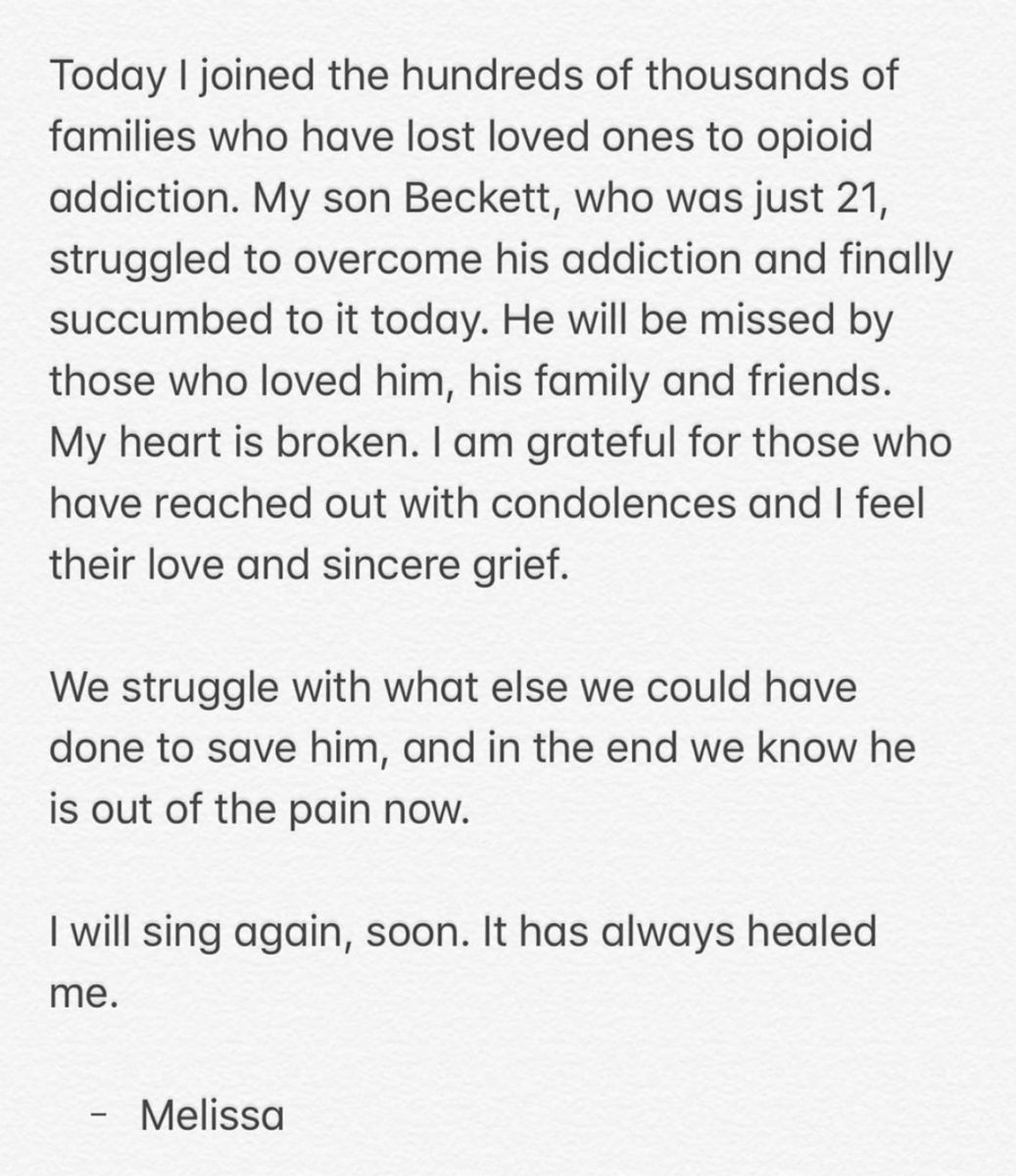 Melissa Etheridge Gives Update After Son's Death