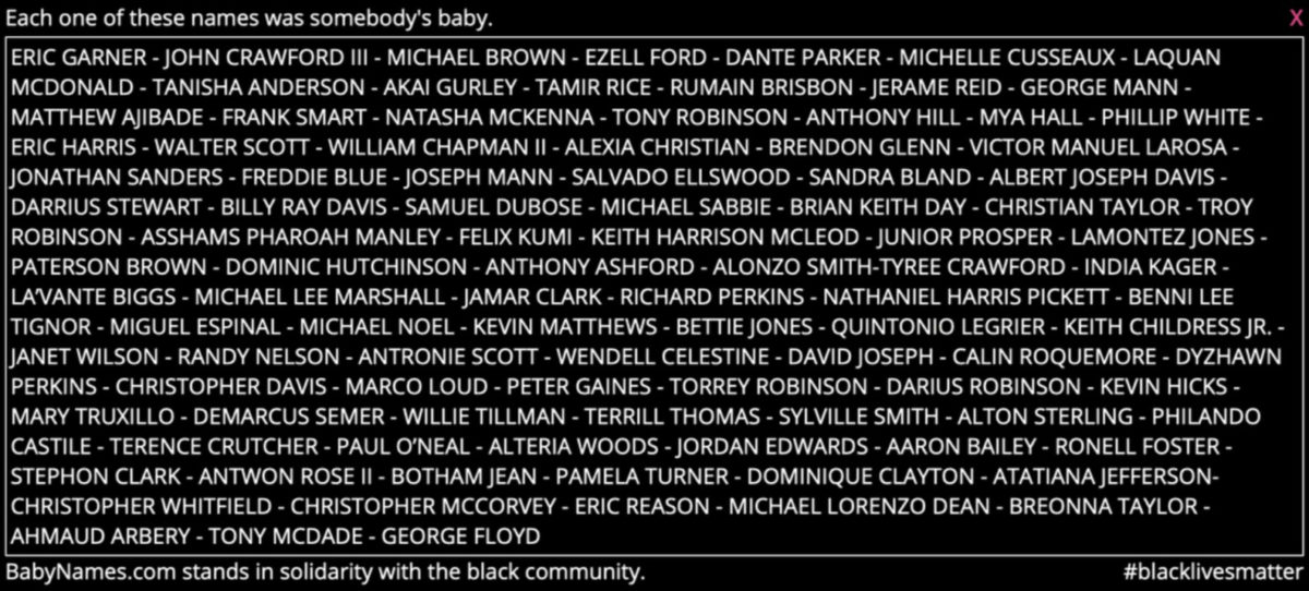 BabyNames.com Pulls at People's Heartstrings With Tribute to the List of Black People Killed by Police