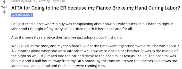 Man Wonders: Was I Wrong to Leave My Fiancé for the ER Right After She Gave Birth Because She Broke My Hand During Labor?