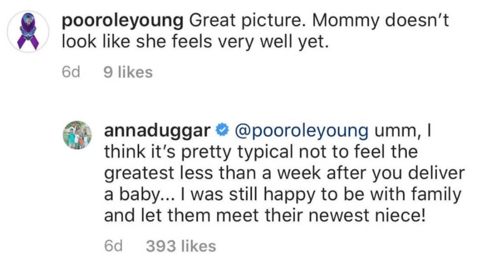 Anna Duggar Shuts Down Critic Who Slammed Her Appearance