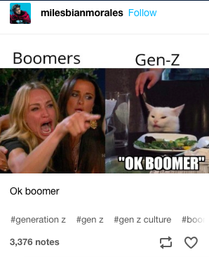 13 very funny 'ok boomer' memes that may or may not make you feel old | if you haven't seen an ok boomer meme, you probably haven't been on the internet for the past couple of years. it all started when millennials and gen-z started poking fun at the baby boomer generation and taking them to task for misunderstanding their struggles.