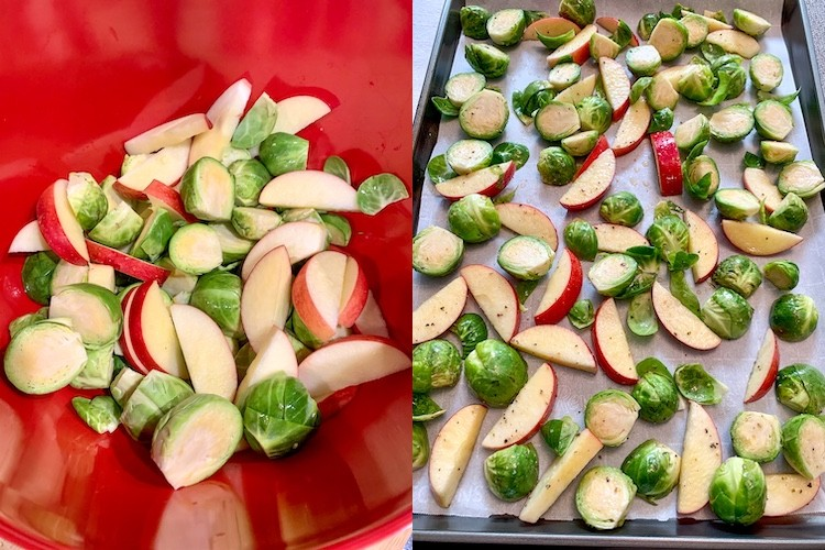 Ayesha Curry's Easy Pork Chops Recipe Apple and Brussels sprouts prep