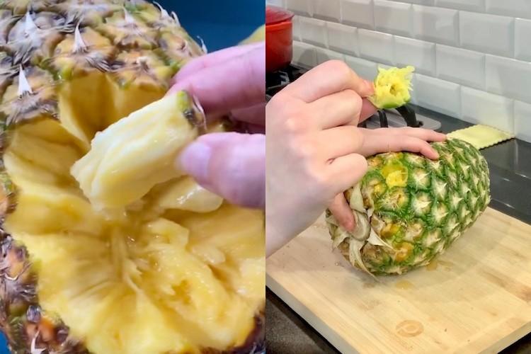 no-knife pineapple hack side by side results tiktok vs. mamas uncut