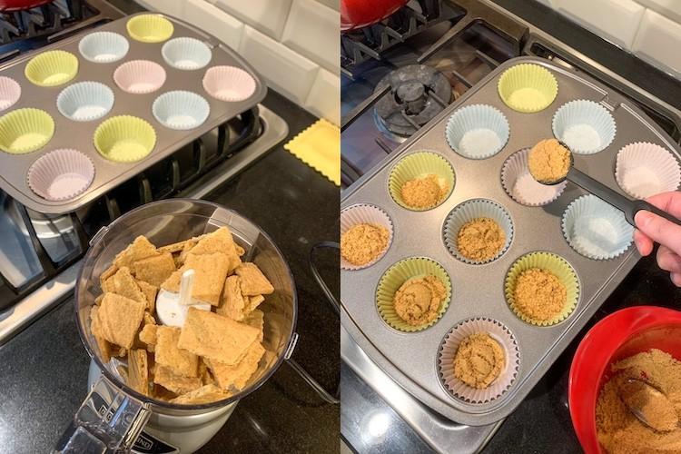 S'more cupcake recipe steps for graham cracker crust
