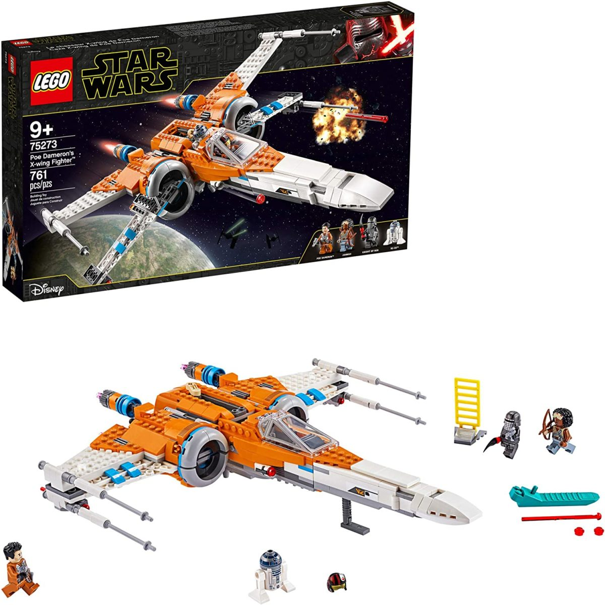 lego star wars poe dameron's x-wing fighter 75273 building kit, cool construction toy