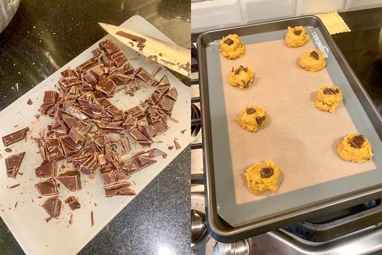 taylor swift dark chocolate chunk pumpkin cookie recipe cutting chocolate and scooping cookies