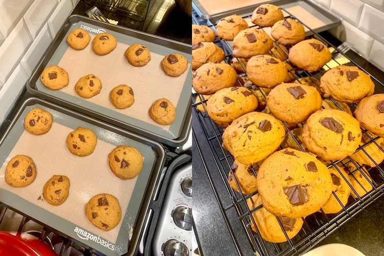 taylor swift dark chocolate chunk pumpkin cookie recipe finished cookies on baking sheets and cooling rack
