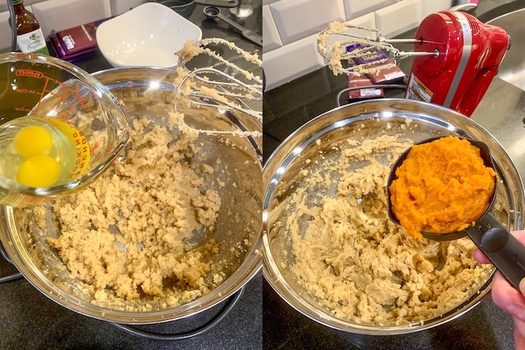 taylor swift dark chocolate chunk pumpkin cookie recipe egg and pumpkin mixing steps