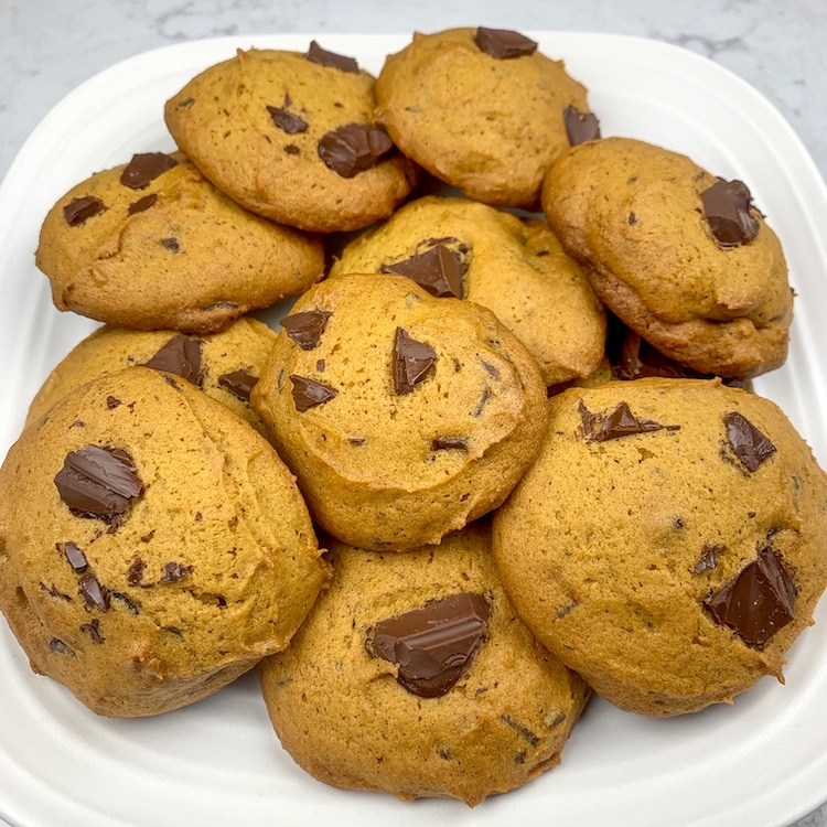 taylor swift dark chocolate chunk pumpkin cookie recipe finished cookies on a plate