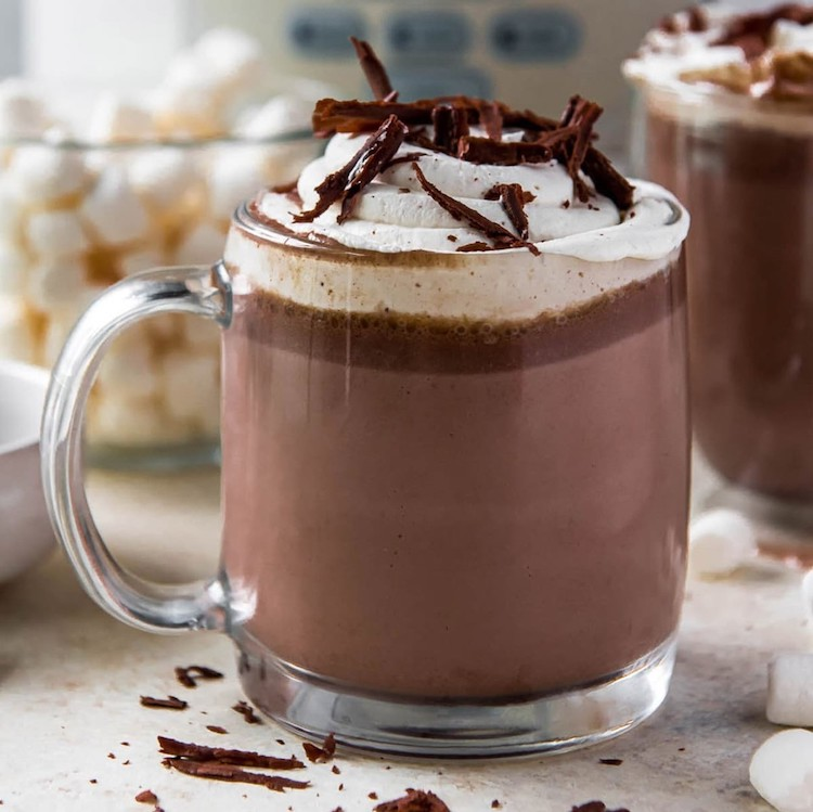Slow Cooker Hot Chocolate in a glass mug