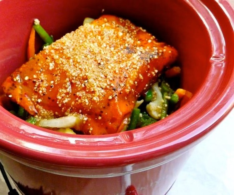 Slow Cooker Salmon and Asian Veggies