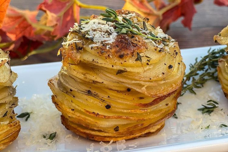 Thanksgiving sides stacked potatoes