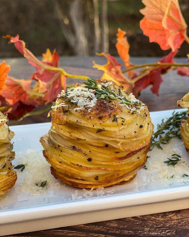 10 modern thanksgiving sides certain to refresh your holiday dinner garlic parmesan stacked potatoes