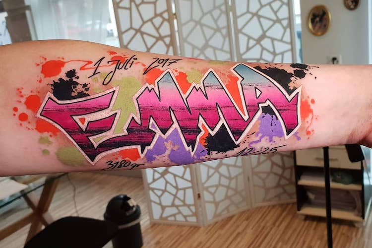 25 Graffiti Tattoos Dripping With Style And Colorful Ink