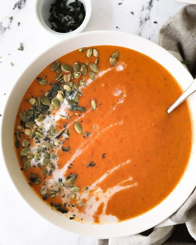 30 blender recipes that aren't smoothies butternut squash and roasted red pepper soup