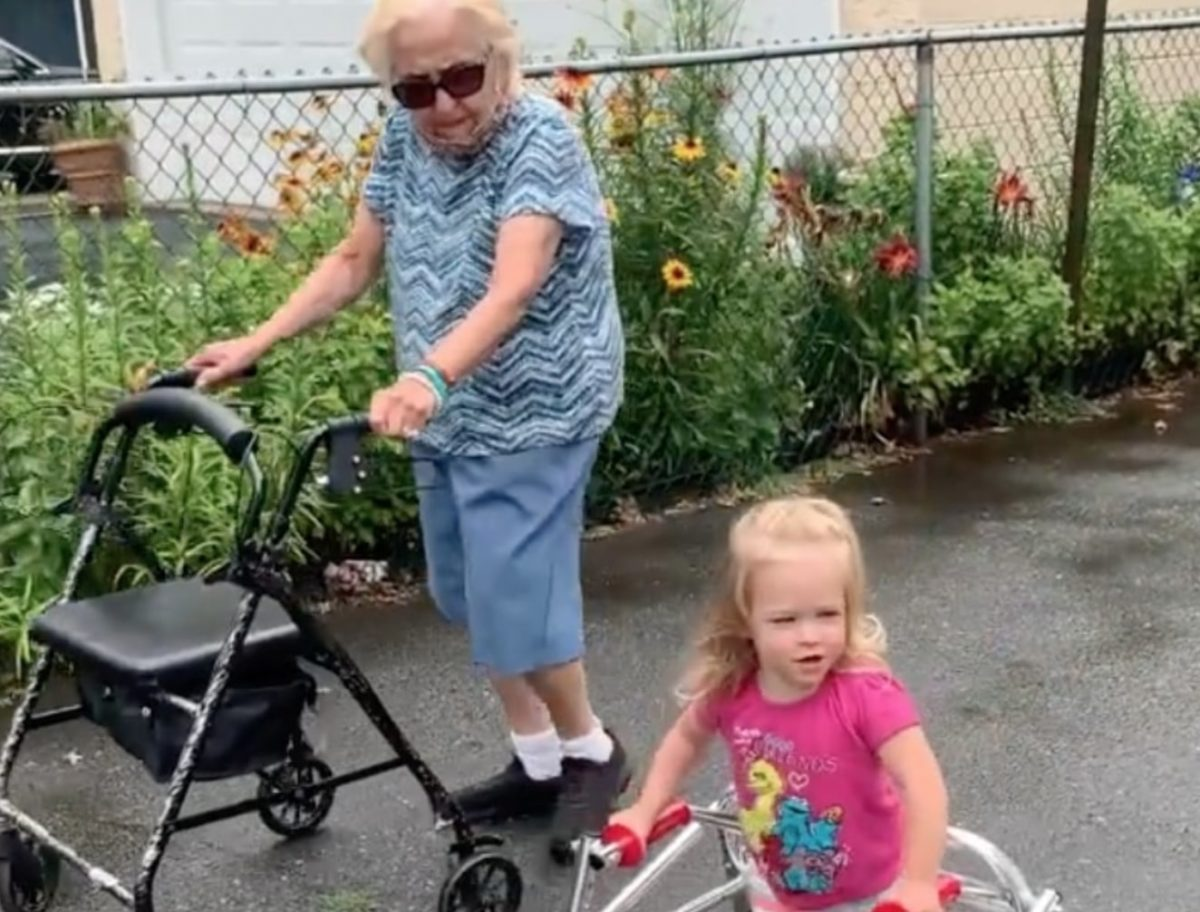toddler with cerebral palsy uses walker like her grandma