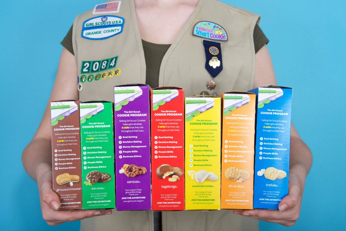 girl scout pitches cookies to neighbors by doorbell camera