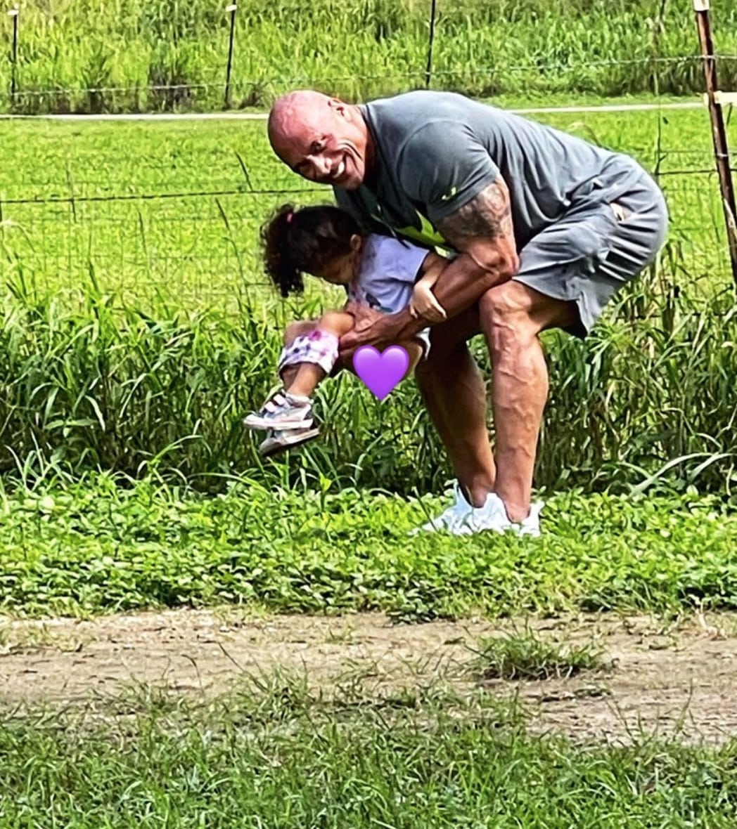 dwayne johnson shares photo of tiana peeing on his sneakers