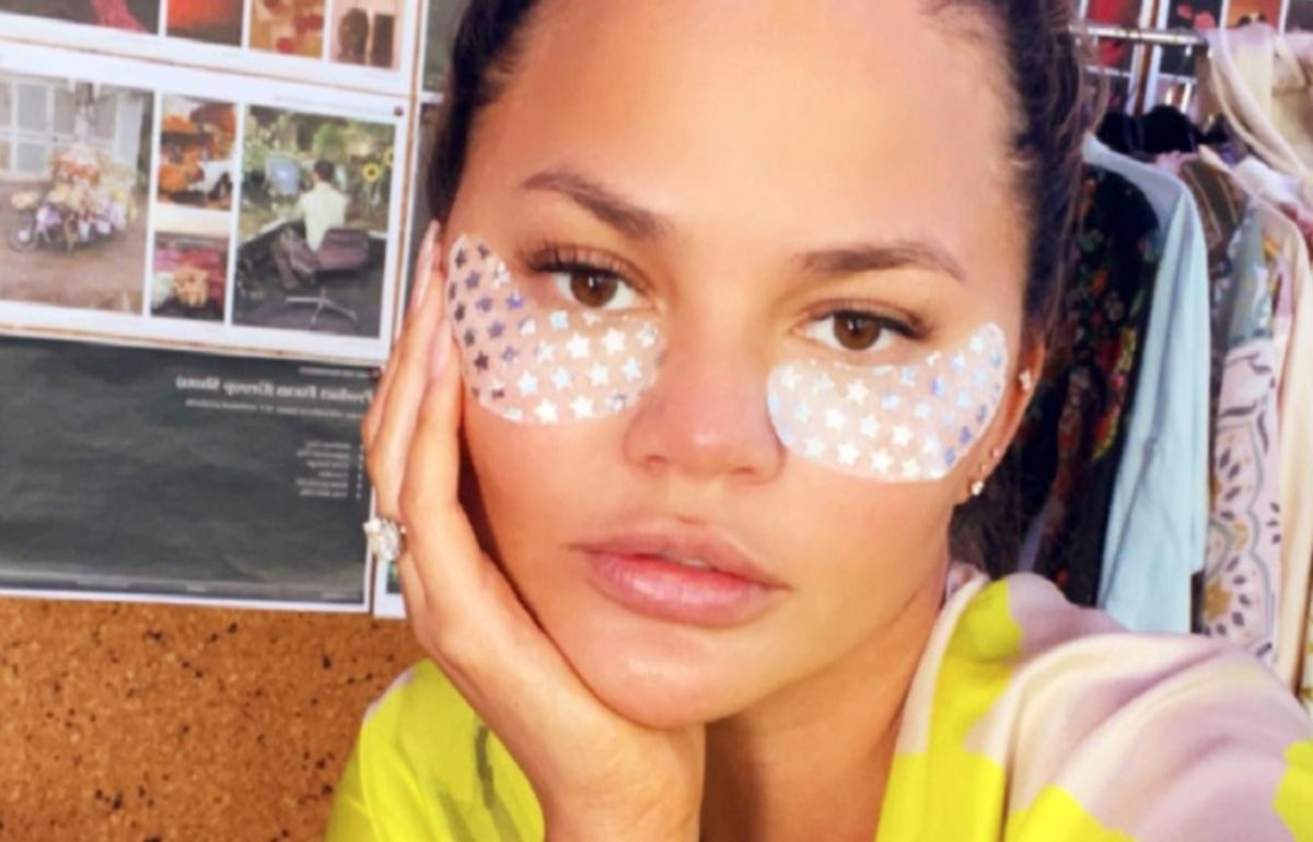 chrissy teigen posted a photo of herself wearing these eye masks, now everyone wants them