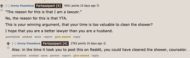 husband asks if he's in the wrong for refusing to clean because he's a lawyer