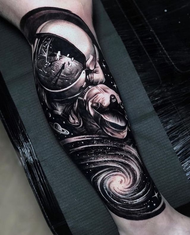 the future is up! 25 space tattoos to explore this huge 2021 tattoo trend