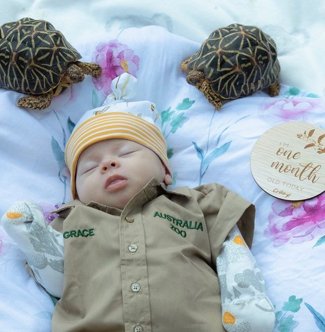 bindi irwin celebrates 1-month-old daughter in khakis