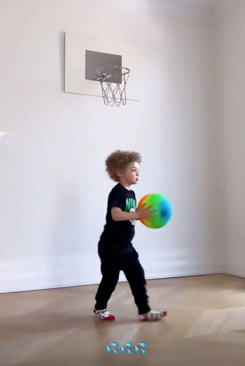 drake posts clip of 3-year-old son adonis playing basketball